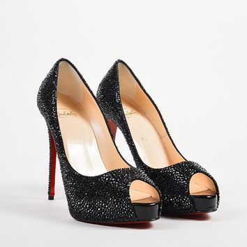 HCXX Black ?¨®¡騪?¨ª¨®Christian Louboutin Strass Crystal   New Very Riche 120   Pumps