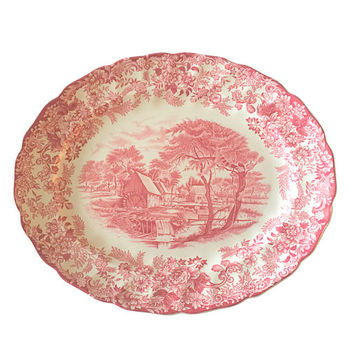 Mill Stream Platter Tray by Johnson Bros China of England, Country Farmhouse Style, Vintage Home Decor