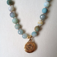 Amazonite Beaded Necklace, Pewter Gold Colored OM OHM Pendant Charm, Boho Chic Layering Necklace