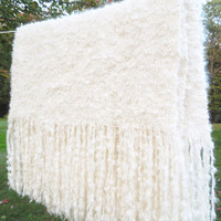 """Vintage off-white crochet afghan throw lap-blanket with long fringes 53"""" x 49"""""""