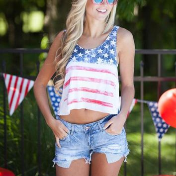american flag print sleeveless crop tank top  number 1