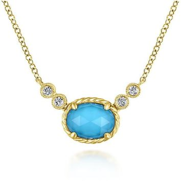 Gabriel Turquoise and Rock Crystal Diamond Pendant