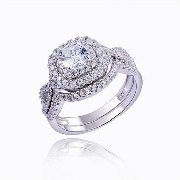 2Pcs Classic Ring Set 1.9ct CZ Genuine 925 Sterling Silver