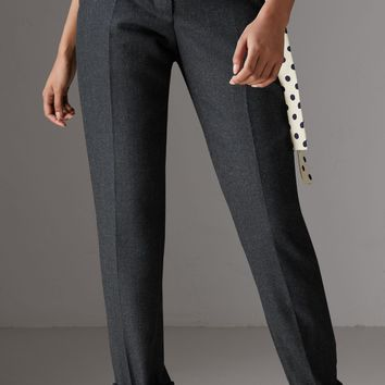 Wool Twill Trousers in Dark Grey Melange - Women | Burberry