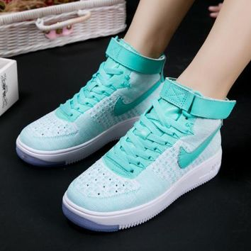 LMFON Nike Air Force 1 Flyknit Mid-High 818018-007 Green For Women Men Running Sport Casual Shoes Sneakers