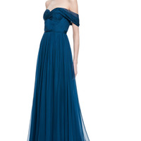 Teal Chiffon Off-The-Shoulder Gown by Marchesa - Moda Operandi