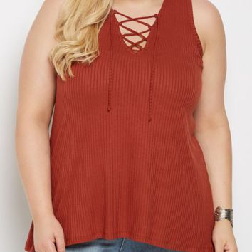 Plus Cognac Ribbed Lace-Up Tank Top | Plus Casual Tank Tops | rue21