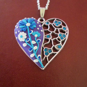 ready to ship jewelry,polymer heart,floral necklace,cmulticolor necklace,colorful necklace,polymer clay pendant,artisan pendant,filigree