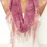 Pink  Cotton Shawl Scarf - Headband -with Lace Edge - New-  DIDUCI