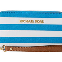 MICHAEL Michael Kors Jet Set Travel Stripe LG Multifunction Phone Case Summer Blue/White - Zappos.com Free Shipping BOTH Ways