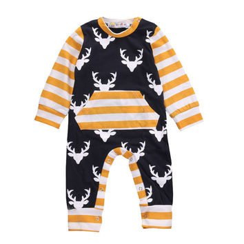 Cotton Newborn Kids Infant Long Sleeve Deer Romper Jumpsuit