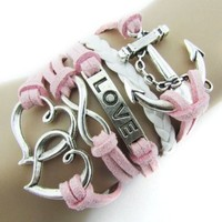 Coromose Fashion Infinity Double Heart Anchor Leather Charm Bracelet Pink
