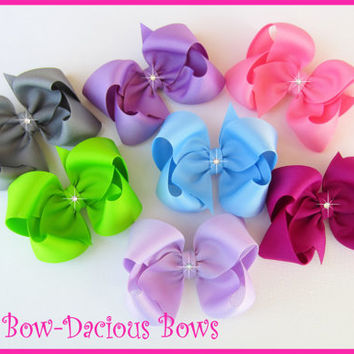100 COLORS One Custom Boutique Hair Bow, girls bows, school bows, baby bow, washable, toddler bows, large bows, international shipping