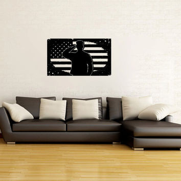 Soldier Salute Silhouette with Grunge American Flag Vinyl Wall Decal Sticker Graphic