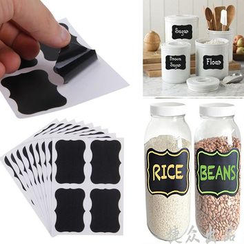 40pc/Set Removable Vinyl Chalkboard Label Stickers PVC Waterproof Jar Classification Organizer Decals Craft Kitchen Decor Paster