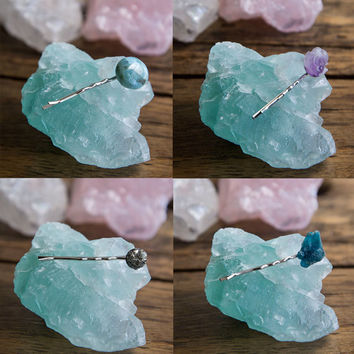 4Pack CRYSTAL HAIR CLIPS - Bobby Pins Natural Raw Gemstones Larimar Amethyst Pyrite Apatite Gifts for Her Boho Gypsy Style Hair Accessories