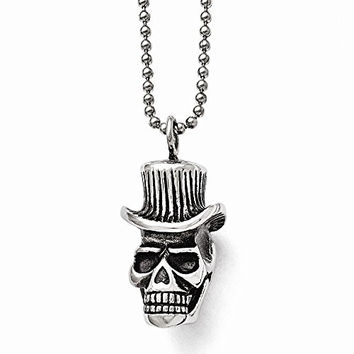 Chisel Stainless Steel Polished and Antiqued Skull with Hat Necklace, 24""