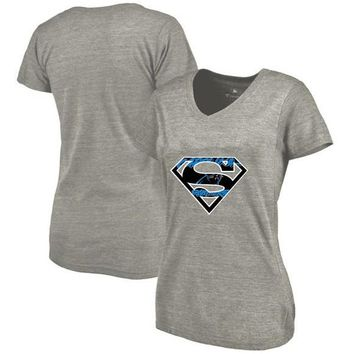 New Design Women's Summer Fashion Panthers Fans T-Shirt, Carolina Tees Superman S Logo Picture Print Classical V-neck T Shirts