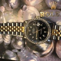 Rolex Men's Datejust 18K Gold & Steel White Diamond Dial, Bezel Jubilee Quickset