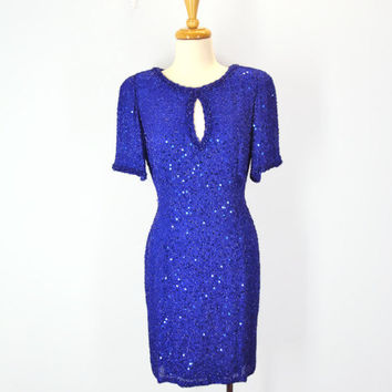90s Oleg Cassini Dress Neiman Marcus Beaded Sequins Black Tie High Fashion Sz 10 Indigo Blue