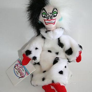 "Licensed cool NEW Disney Store 8"" 101 Dalmatians Villain Cruella De Vil plush bean bag doll"