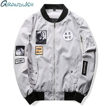 Grandwish Men Bomber Jacket Hip Hop Patch Designs Slim Fit Pilot Bomber Jacket Coat Men Jackets Plus Size 4XL,PA573