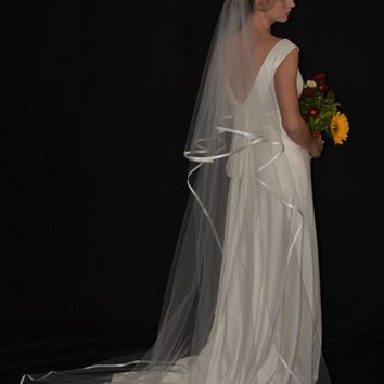 "Two-Tier 30""/90"" Chapel Veil with 3/8"" Folded Satin Ribbon Edge"