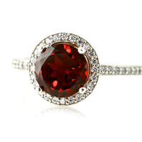 14K Red Garnet Ring Diamond Halo Engagement Ring January Birthstone Ring Custom Bridal Jewelry