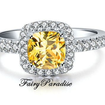 2 Carat Canary Yellow Cushion Cut Halo Promise Ring / Engagement Rings , Man Made Diamond, Free Gift Box  (FairyParadise)