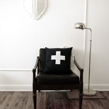 Black and White Swiss Cross Decorative Pillow Cover