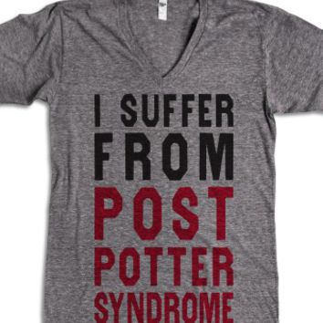 I Suffer From Post Potter Syndrome (V Neck)-Athletic Grey T-Shirt