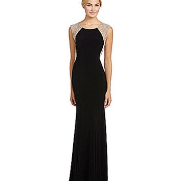 Xscape Beaded-Back Gown - Black