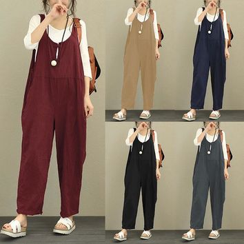 Celmia Women Jumpsuit 2018 Summer Autumn Cotton Linen Romper Sleeveless Backless Solid Casual Loose Trousers Plus Size Overall