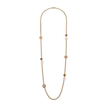 Tory Burch Lacquered Logo Rosary Necklace