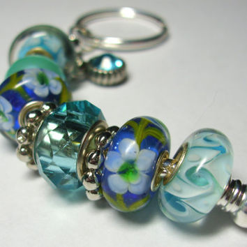 Blue Floral Key Chain