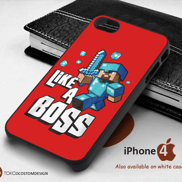 Cute Minecraft Like A Boss for iPhone 4/4S, iPhone 5/5S, iPhone 6, iPod 4, iPod 5, Samsung Galaxy Note 3, Galaxy Note 4, Galaxy S3, Galaxy S4, Galaxy S5, Galaxy S6, Phone Case