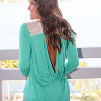 Emerald Top with Open Back and Lace Detail