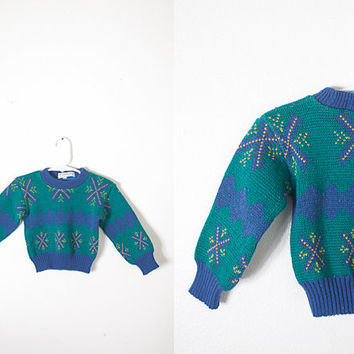 Vintage Baby Sweater, Baby Boy Clothing, Vintage Blue Sweater, Fair Isle Sweater, Baby Girl Clothing, Retro Baby Clothing, Ugly Sweater
