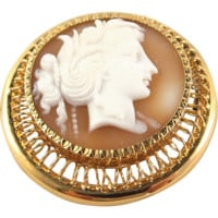 Antique sardonyx cameo brooch set in French frame crafted in 18K solid gold Stamped fine jewelry pin, 1870s
