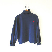 Wms Vintage 90's POLO Ralph Lauren Embroidered Navy Blue Plain Fold Over TURTLENECK Top Sz L