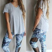 Mermaid Blue Multi Print Mesh Paneled Leggings