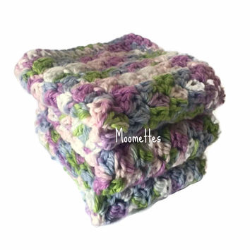 Handmade Dish Cloths Pink Purple Green White Pastel Wash Cloths Crochet Kitchen Dishcloths Eco Friendly Cotton Shabby Set of 3