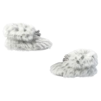 Ankle Tassel Faux-Fur Booties, Gray Leopard