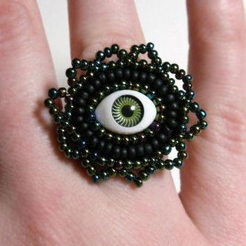 I See You Evil Eye ring on Green and Black by MegansBeadedDesigns