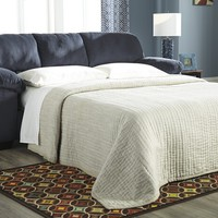 Dailey collection midnight colored fabric upholstered full sleeper sofa with overstuffed arms