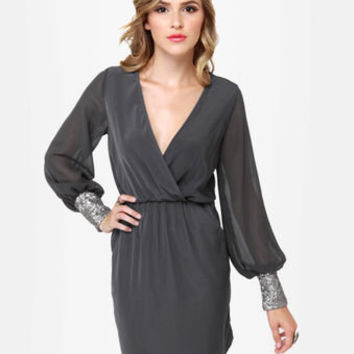 Sexy Grey Dress - Sequin Dress - Long Sleeve Dress