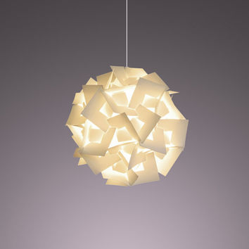 "Akari Small Squares 12"", Warm White Glow, Hanging Pendant Light Fixture, plug-in swag lamp with bulb, easy to install, hardwire optional"