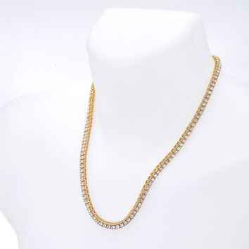 "Jewelry Kay style Men's Fashion Hip Hop CZ Iced Out 4 mm Round Stone 22"" Tennis Chain Necklace"
