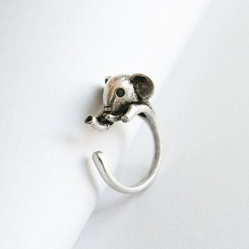 Adjustable ancient silver baby elephant retro ring
