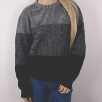Vintage Black and Gray Striped Sweater